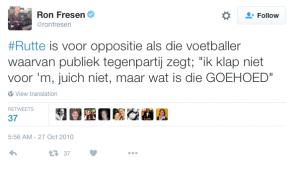 Tweet Ron Fresen (NOS)